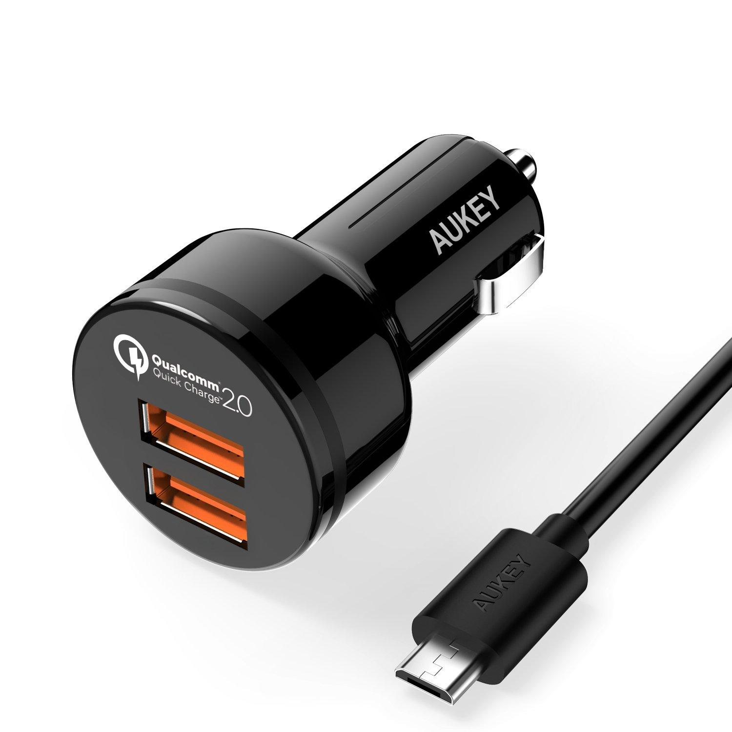 Aukey Quick Charge 2.0 36W 2-Port Car Charger + 3.3 Ft. Micro USB Cable