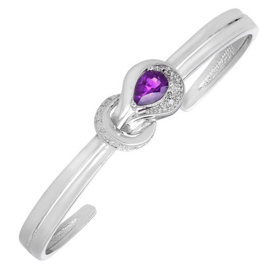 7/8 ct Amethyst Bangle Bracelet with Diamond