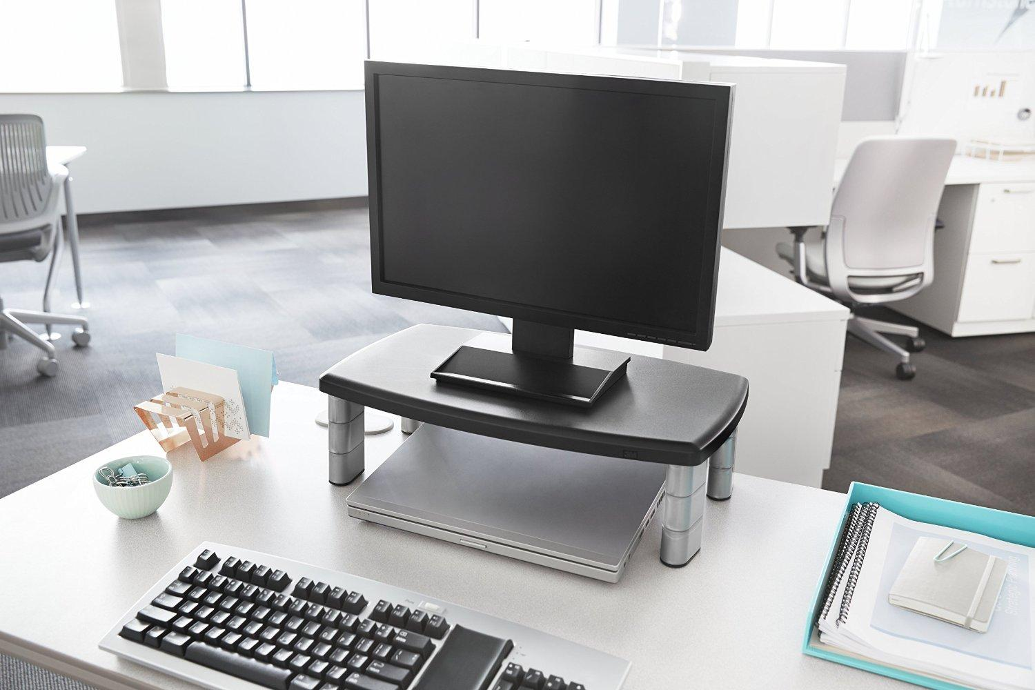 3M Extra Wide Adjustable Monitor Stand Height 1-Inch to 5 7/8-Inch, Holds 40 lbs