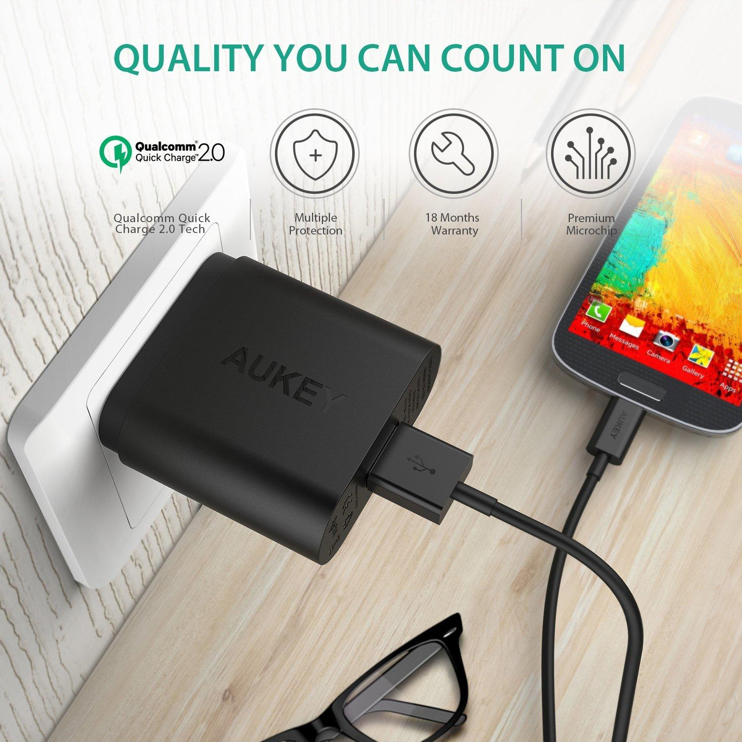 Aukey Quick Charge 2.0 18W USB Turbo Wall Charger Fast Charger (Black)