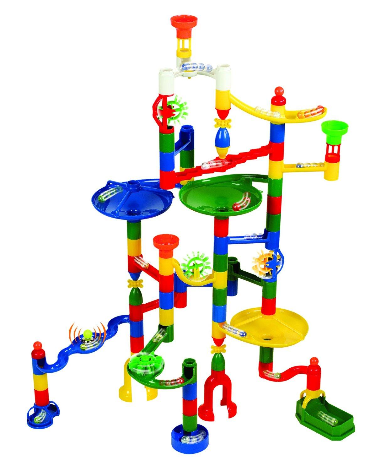 Edushape Marbulous Marble Run - 82 Pieces plus Bonus of 50 Marbles - Total of 132 Pieces