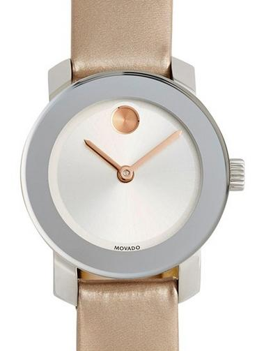 Movado 'Bold' Round Patent Leather Strap Watch @ Nordstrom