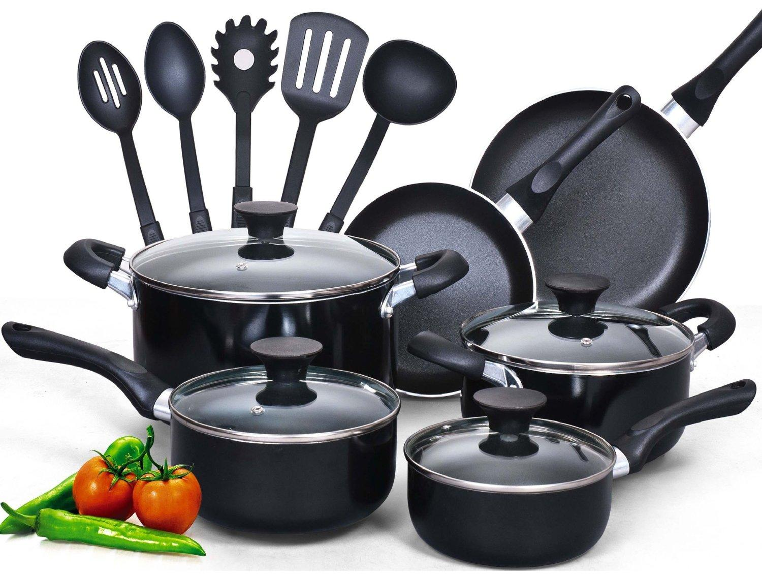 #1 Best Seller! Cook N Home 15 Piece Non stick Black Soft handle Cookware Set