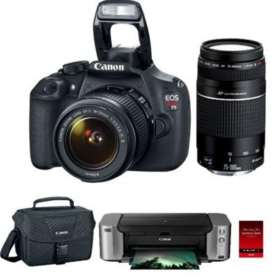 Canon EOS Rebel T5 DSLR Camera with 18-55mm & 75-300mm Lenses / PIXMA PRO-100 Printer Bundle