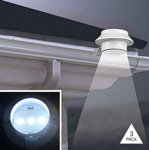 3-Pack: Solar Power LED Light with Bracket