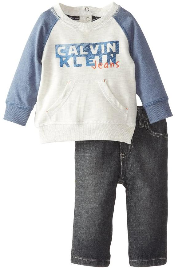 Calvin Klein Baby-Boys Newborn Gray Blue French Terry Top with Jeans