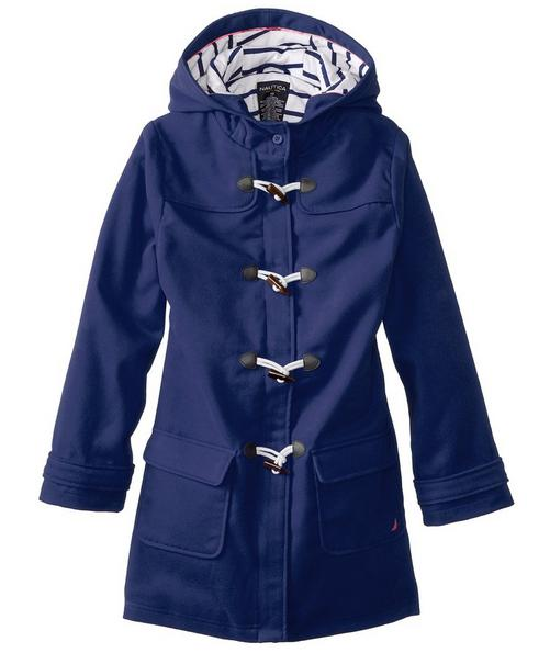 Nautica Big Girls' Faux Wool Swing Coat with Toggles