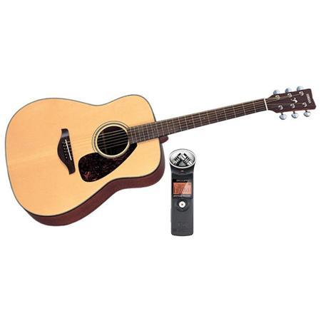 Yamaha FG700S 6 String Folk Acoustic Guitar Gloss Natural W/Zoom H1 Audio Recrdr FG700S B