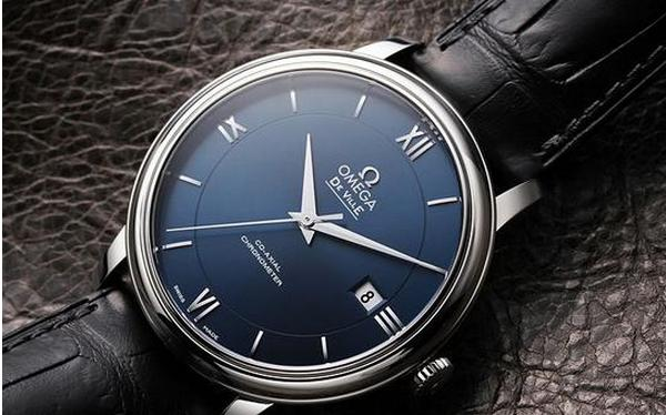 Omega De Ville Prestige Blue Dial Black Leather Men's Watch 424.13.40.20.03.001