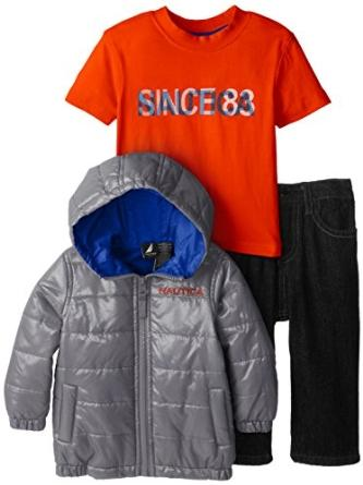 Nautica Baby Boys' 3 Piece Outerwear Bubble Jacket Set