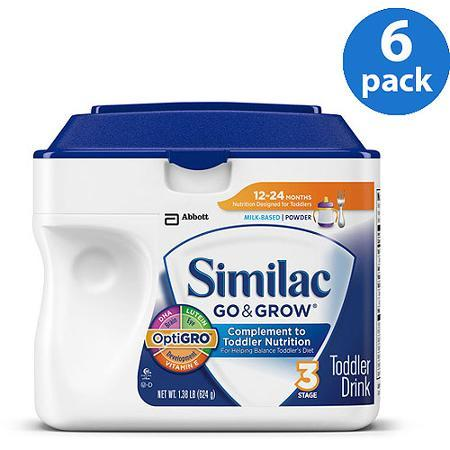 Similac Go & Grow Milk Based Toddler Drink with Iron Powder Stage 3, 1.38lb container (Pack of 6)