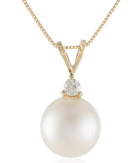 White South Sea Cultured Pearl and Diamond Pendant Necklace