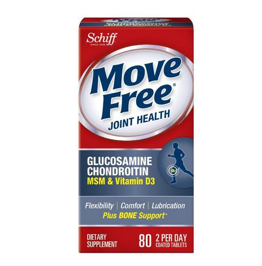 Move Free Glucosamine Chondroitin MSM and Hyaluronic Acid Joint Supplement, 80 Count