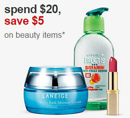 $5 Off $20+ Free $5 GC  with Select Beauty Items Purchase at Target