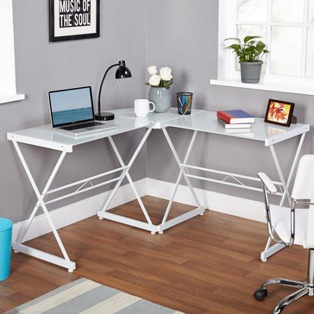 Atrium Metal and Glass L-shaped Computer Desk