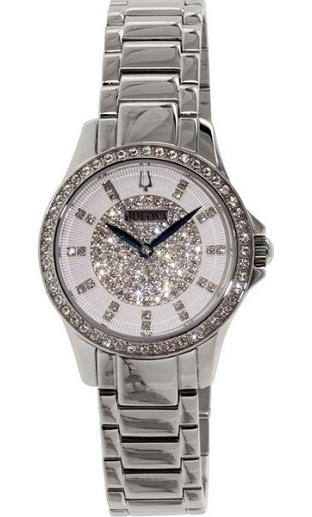 Bulova White Crystal-Set Dial Stainless Steel Ladies' Watch 96L176