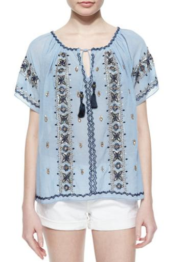Calypso St. Barth Embroidered Tie-Neck Voile Top