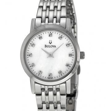 BULOVA Diamond White Mother of Pearl Dial Stainless Steel Ladies Watch