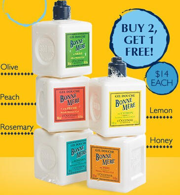 Buy 2 get 1 Free Bonne Mere Shower Gels @ L'Occitane