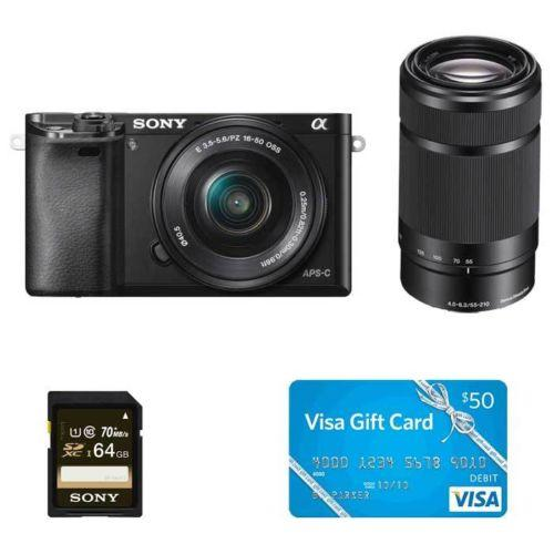 Sony Alpha a6000 24.3MP Camera With 16-50&55-210 Lens, $50 Visa Gift Card, 64GB card