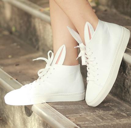 $275 Minna Parikka High Top Sneakers with Bunny Ears