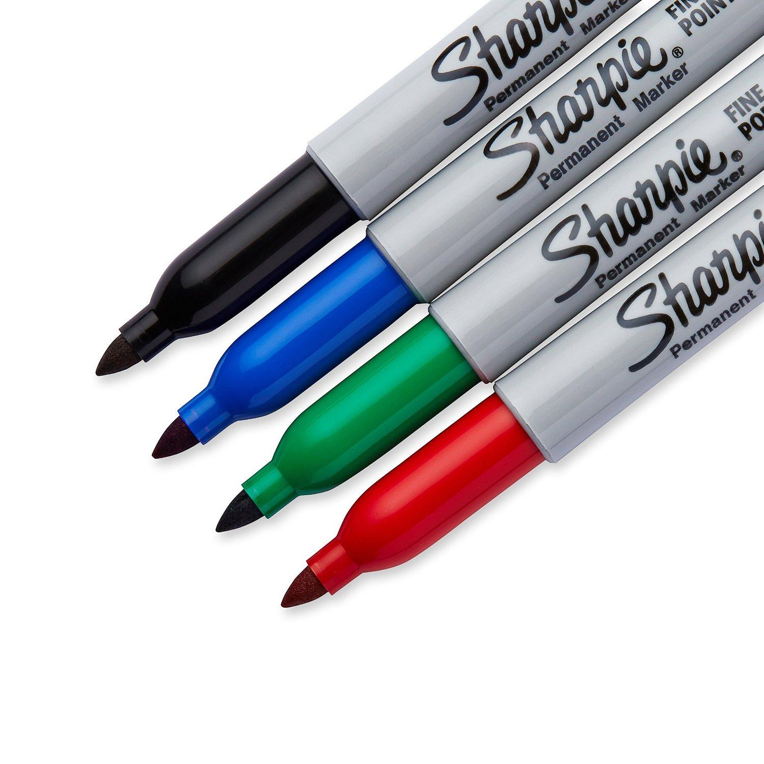 Sharpie 30074 Fine Point Permanent Marker, Assorted Colors, 4-Pack