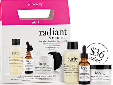 Free radiant & refined set (value $36)  with $40 Philosophy Purchase @ Philosophy