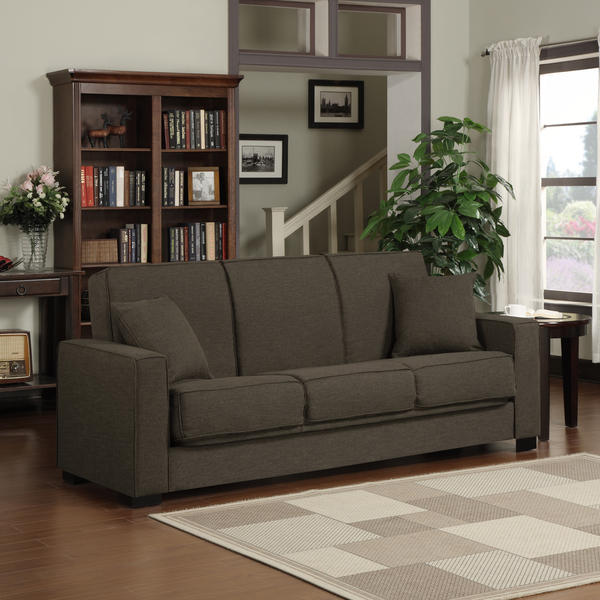 Portfolio Mali Convert-a-Couch Chocolate Brown Linen Futon Sofa Sleeper