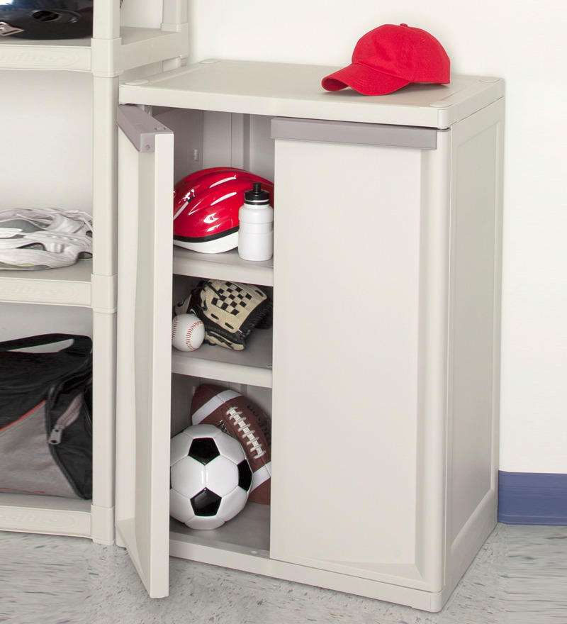 Sterilite 01408501 2-Shelf Base Cabinet with Putty Handles