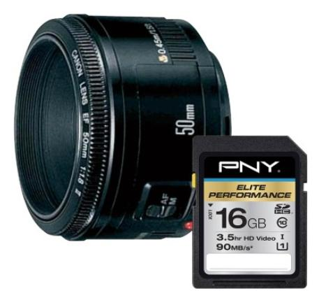 $110.99 Canon - EF 50mm f/1.8 II Standard Lens + PNY Pro Elite 16GB SDHC Class 10 UHS-1 Memory Card