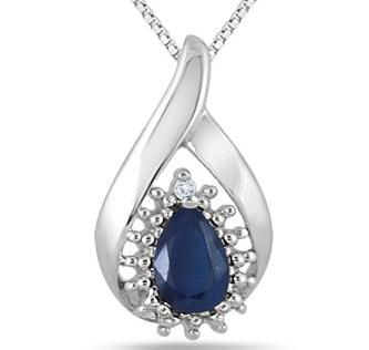 $29 1/2 CARAT PEAR SHAPED SAPPHIRE AND DIAMOND DROP PENDANT IN .925 STERLING SILVER