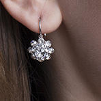 Flower Drop Earrings with Swarovski Crystal