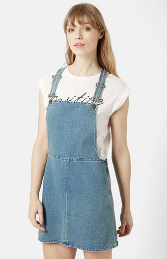 Topshop Moto Bleach Denim Pinafore Dress