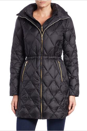 MICHAEL KORS Hooded Diamond-Quilted Coat