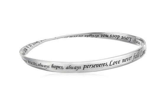 """Sterling Silver """"Love Is Patient, Love Is Kind"""" Twisted Bangle Bracelet"""