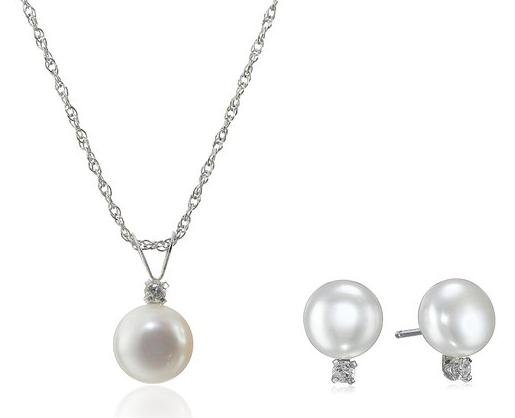 Sterling Silver Button Pearl and White Topaz Two-Piece Pendant Necklace and Earrings Set