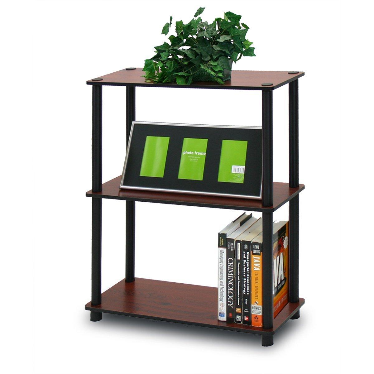Furinno 10024DC/BK Turn-N-Tube 3-Tier Compact Multipurpose Shelf Display Rack,
