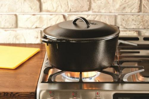 $35.97 Lodge L8DOL3 Pre-Seasoned Cast-Iron Dutch Oven with Dual Handles, 5-Quart