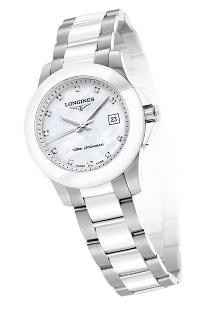 Longines Conquest White Dial White Ceramic Ladies Watch L32574877