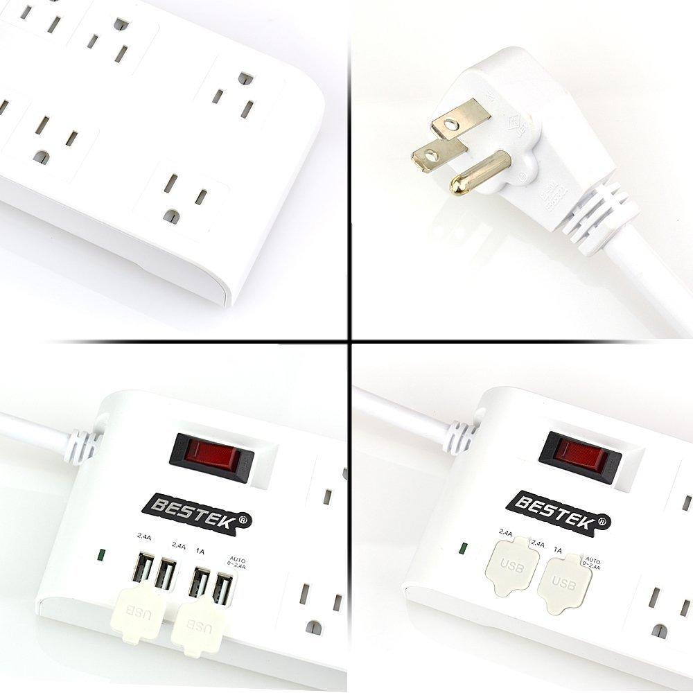 BESTEK® 8-Outlet Home/Office Surge Protector 6 ft Cord with 4-Port USB Charging Station