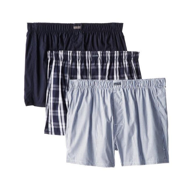 Calvin Klein Men's 3 Pack Cotton Classic Woven Boxe