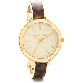 Michael Kors Watches Slim Runway Tort Watch
