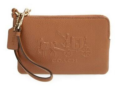 COACH 'Corner Zip' Logo Embossed Leather Wristlet @ Nordstrom