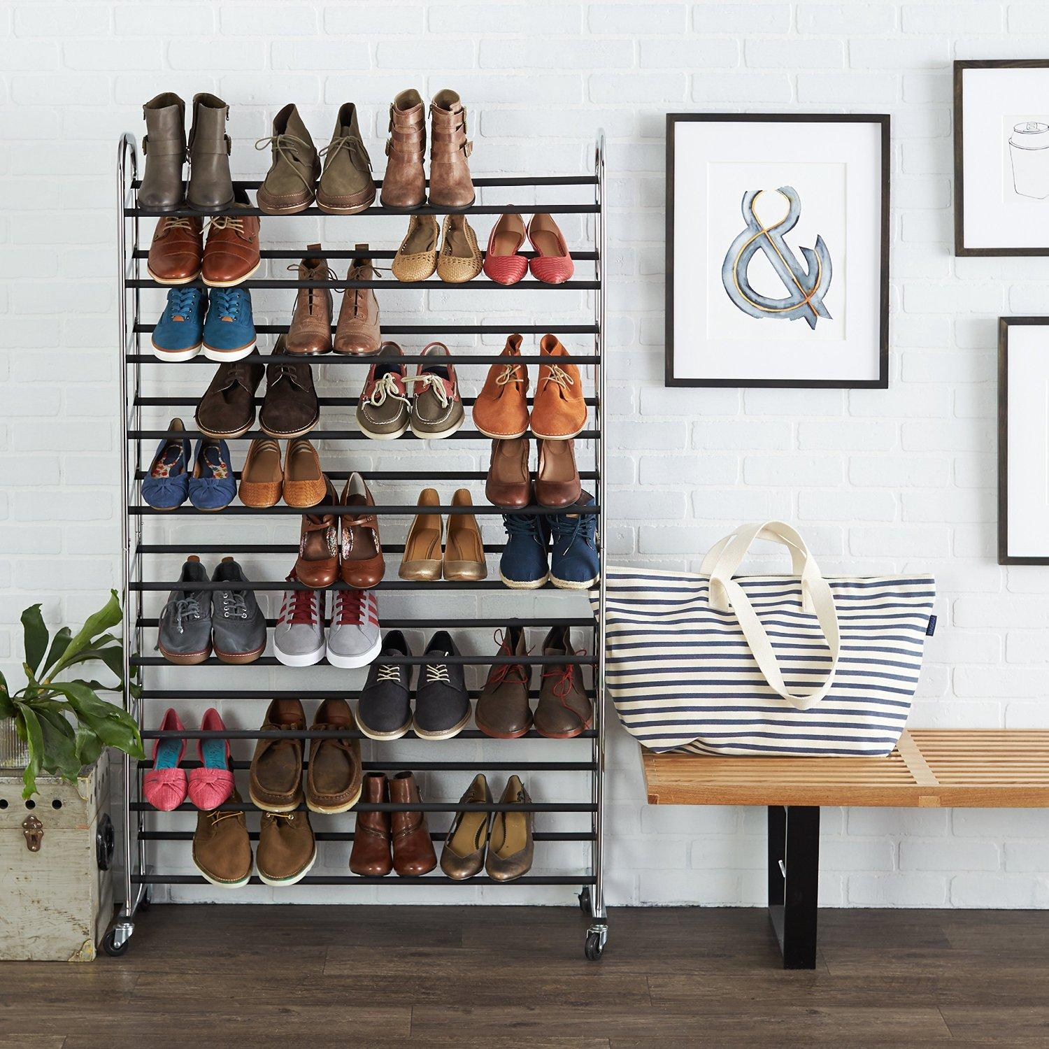 $35.83 AmazonBasics 50-Pair Shoe Rack - Chrome