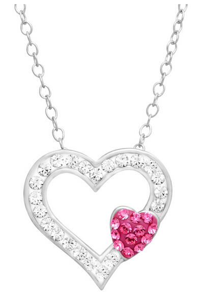 Open Heart Pendant with Swarovski Crystals