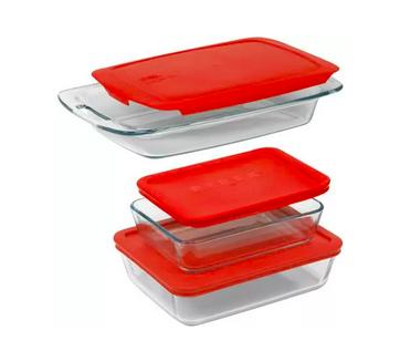 Pyrex 6-Piece Easy Grab Value Pack with Plastic Covers, Glass