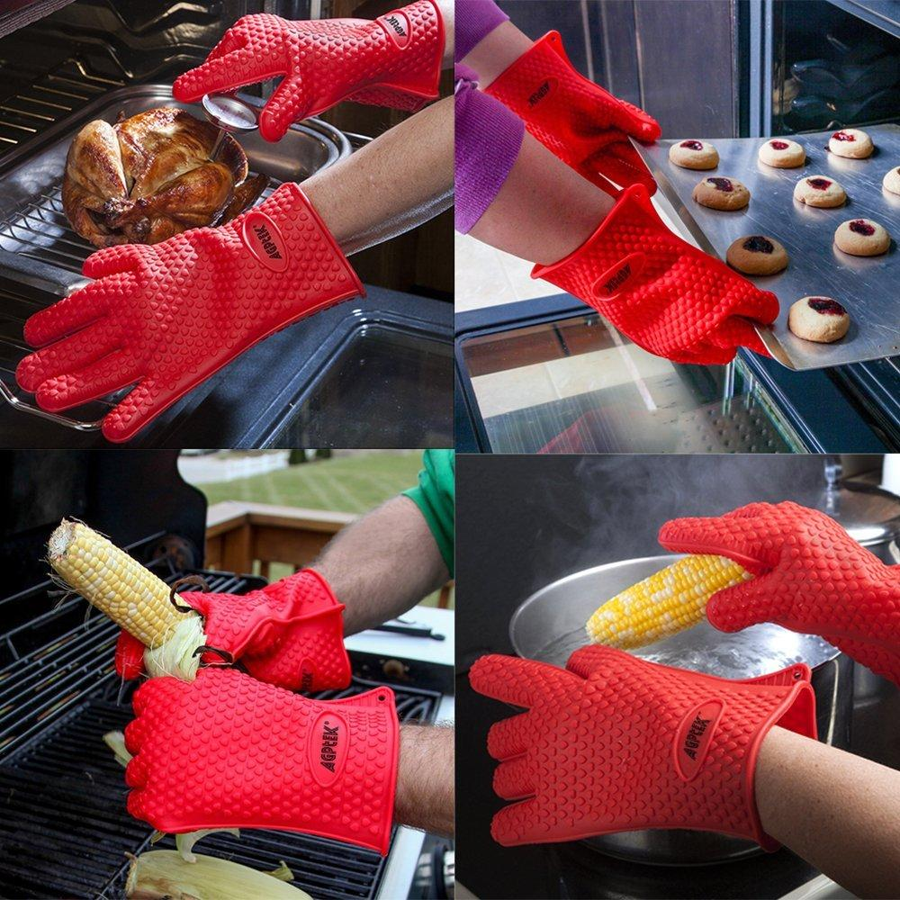 AGPtek Heat Resistant Grilling Silicone BBQ Gloves for Cooking, Baking, Smoking, Grilling and Potholder