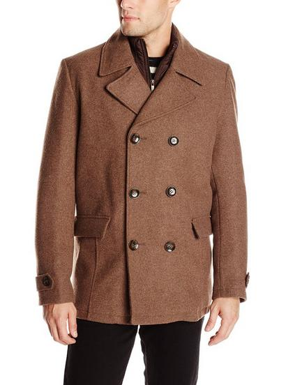 Kenneth Cole New York Men's Classic Double-Breasted Pea Coat with Front-Zip Bib