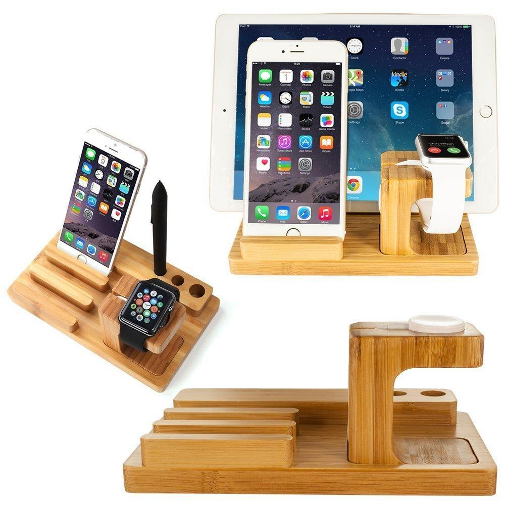 Bamboo Wood Stand for iPad & iPhone Stand, for Apple Watch