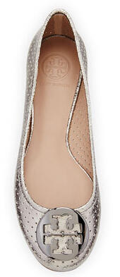 Tory Burch Reva Metallic Perforated Flat, Pewter